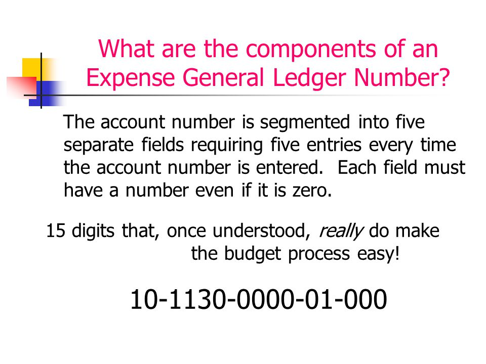 What are the components of an Expense General Ledger Number? The account number is segmented into five separate fields requiring five entries every ti