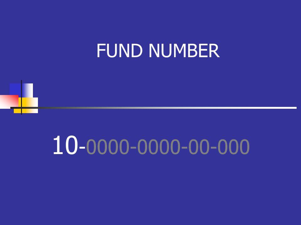 FUND NUMBER 10 -0000-0000-00-000