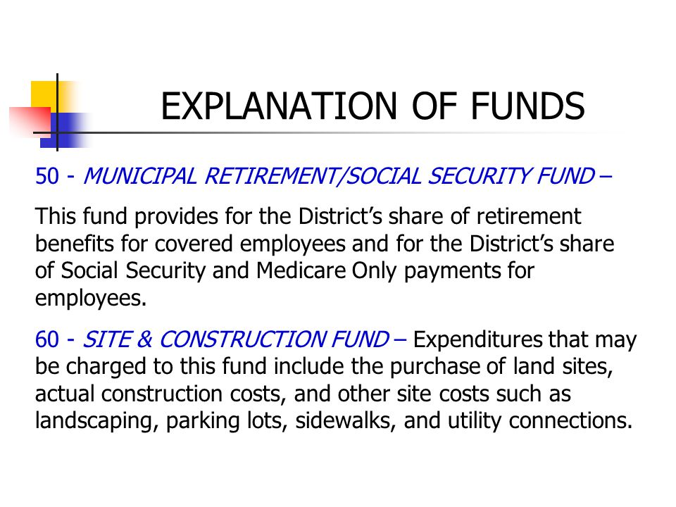 50 - MUNICIPAL RETIREMENT/SOCIAL SECURITY FUND – This fund provides for the District's share of retirement benefits for covered employees and for the