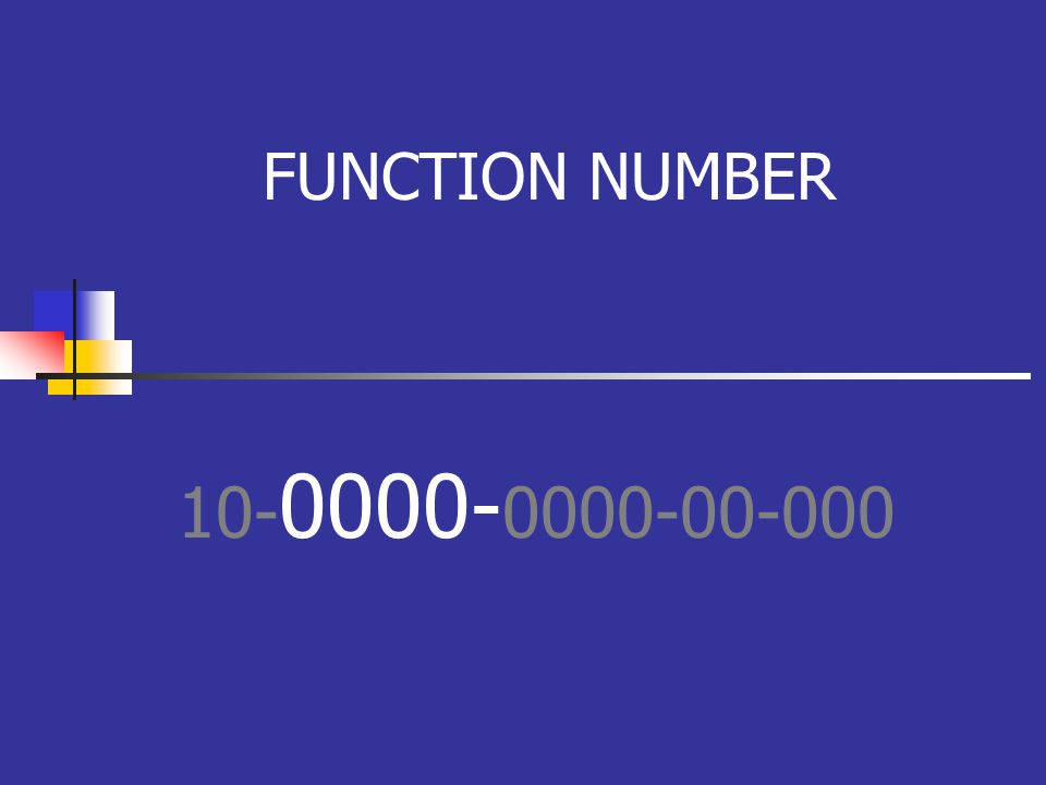 FUNCTION NUMBER 10- 0000- 0000-00-000