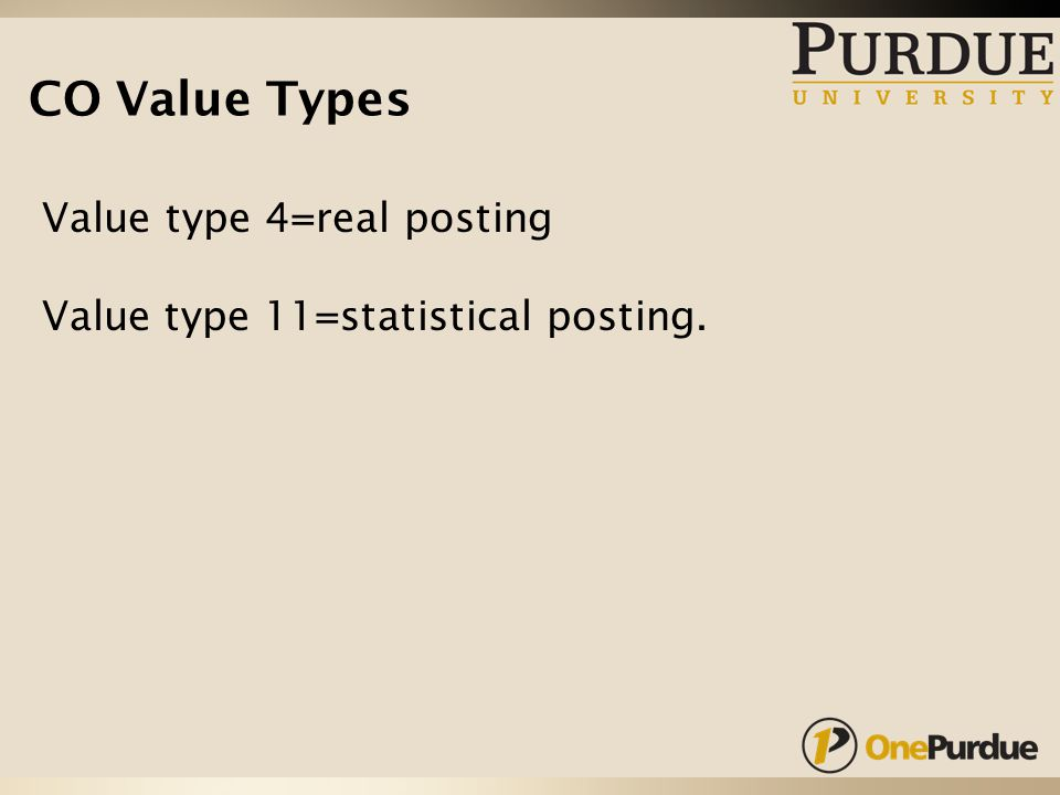 CO Value Types Value type 4=real posting Value type 11=statistical posting.