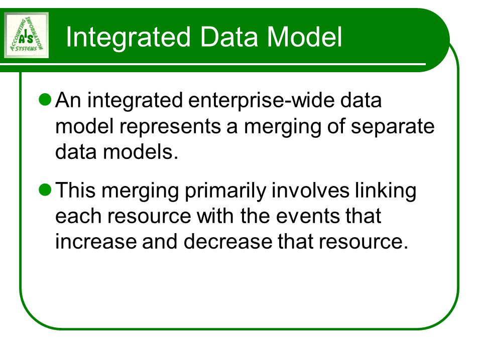 An integrated enterprise-wide data model represents a merging of separate data models. This merging primarily involves linking each resource with the