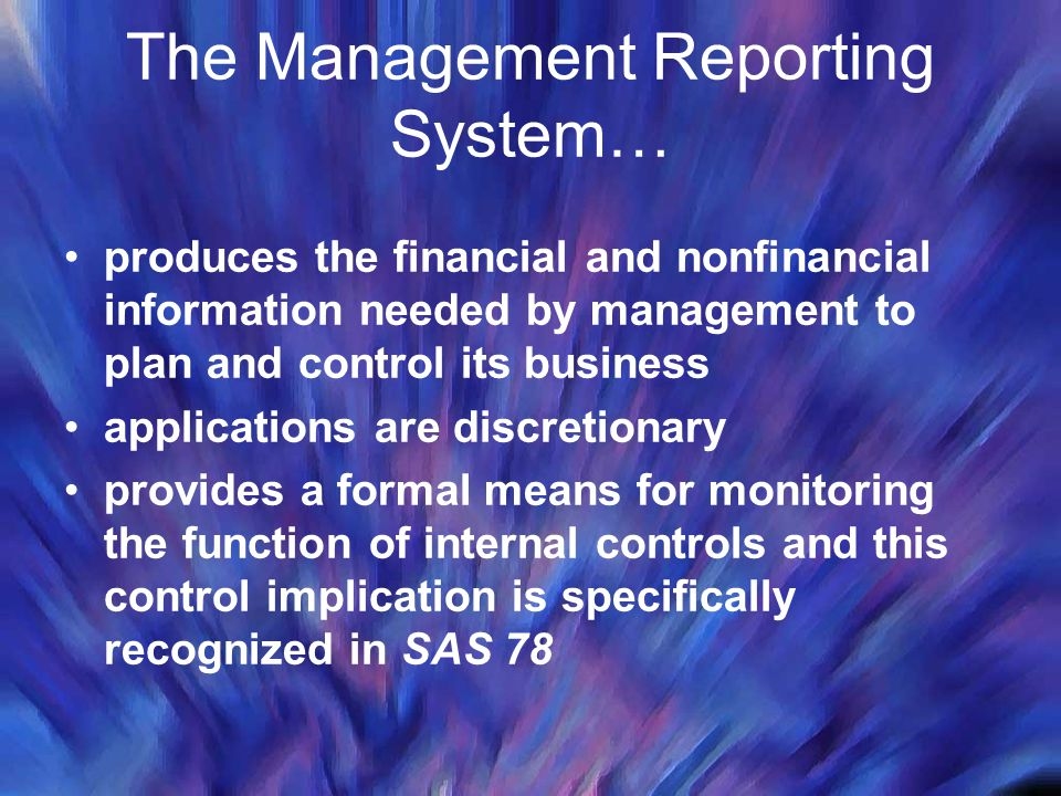The Management Reporting System… produces the financial and nonfinancial information needed by management to plan and control its business applications are discretionary provides a formal means for monitoring the function of internal controls and this control implication is specifically recognized in SAS 78
