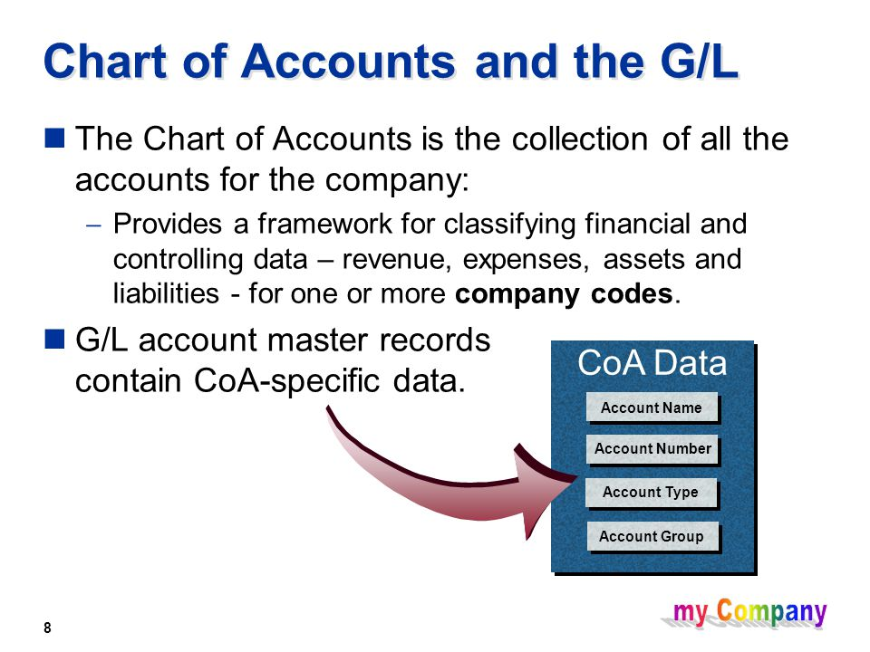 8 Chart of Accounts and the G/L The Chart of Accounts is the collection of all the accounts for the company:  Provides a framework for classifying financial and controlling data – revenue, expenses, assets and liabilities - for one or more company codes.