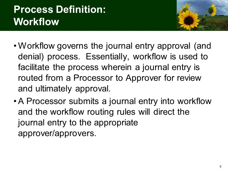 19 Key Organizational Impacts for Approving a Journal Entry As-Is ProcessTo-Be Process JVs are budget checked in STARS after the transaction is released by A&R.