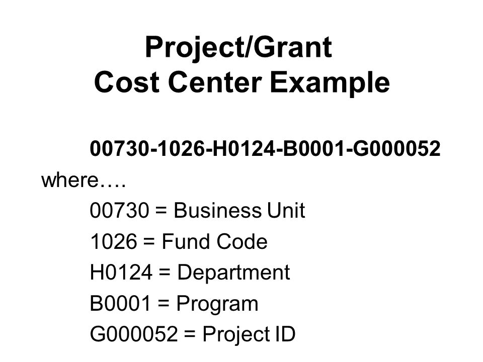 Project/Grant Cost Center Example 00730-1026-H0124-B0001-G000052 where….