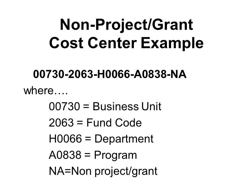 Non-Project/Grant Cost Center Example 00730-2063-H0066-A0838-NA where….