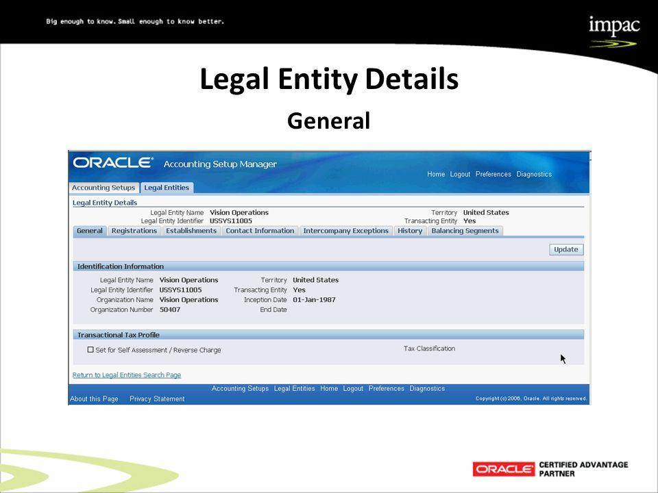 Legal Entity Details General