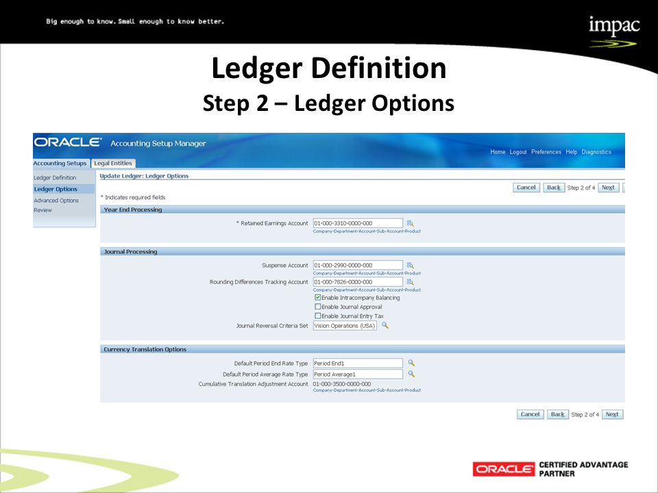 Ledger Definition Step 2 – Ledger Options