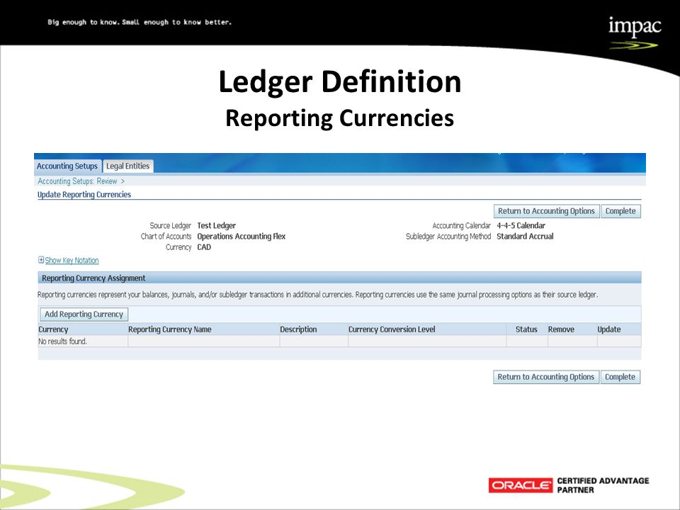 Ledger Definition Reporting Currencies