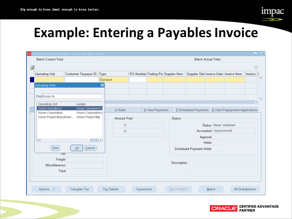Example: Entering a Payables Invoice