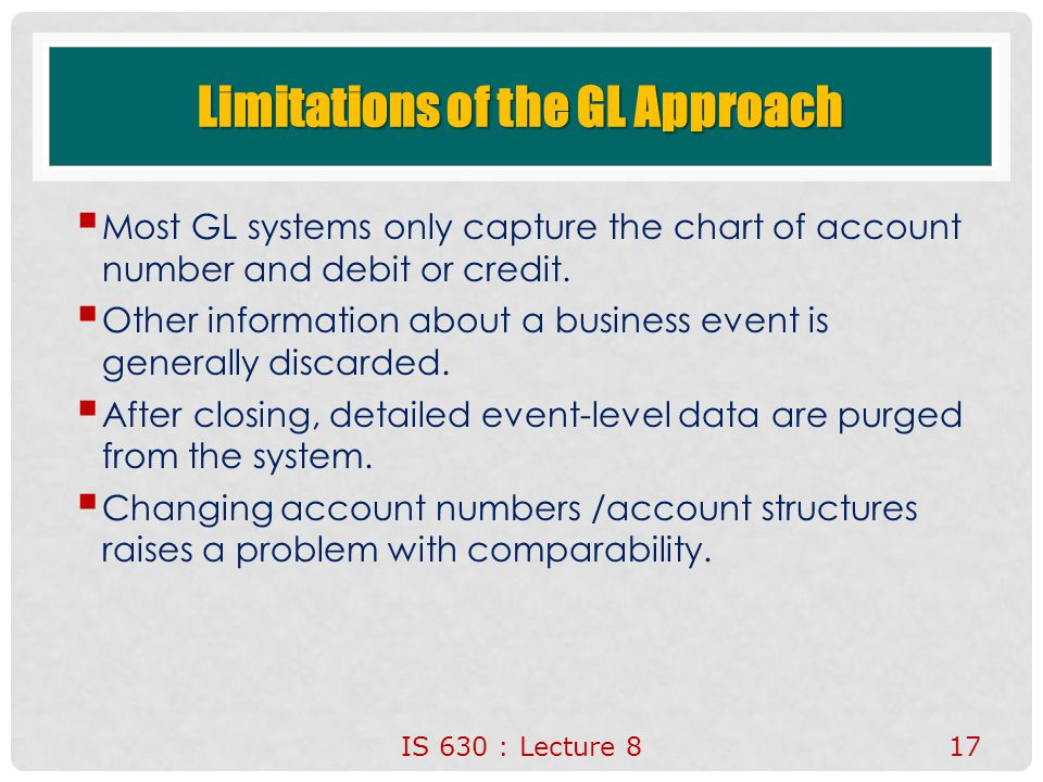 Limitations of the GL Approach  Most GL systems only capture the chart of account number and debit or credit.