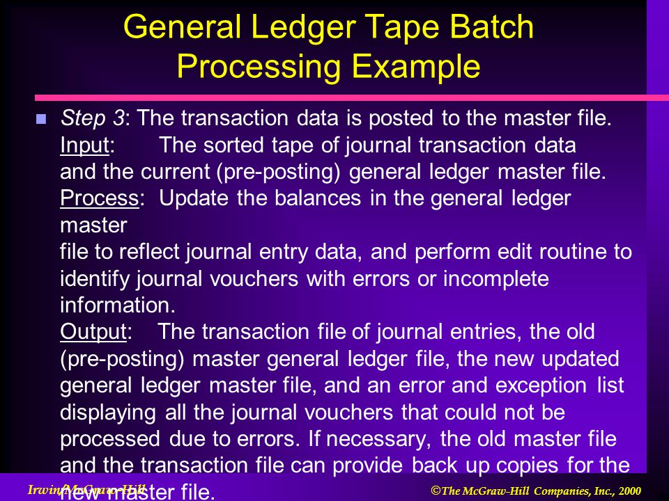  The McGraw-Hill Companies, Inc., 2000 Irwin/McGraw-Hill General Ledger Tape Batch Processing Example Step 3: The transaction data is posted to the master file.