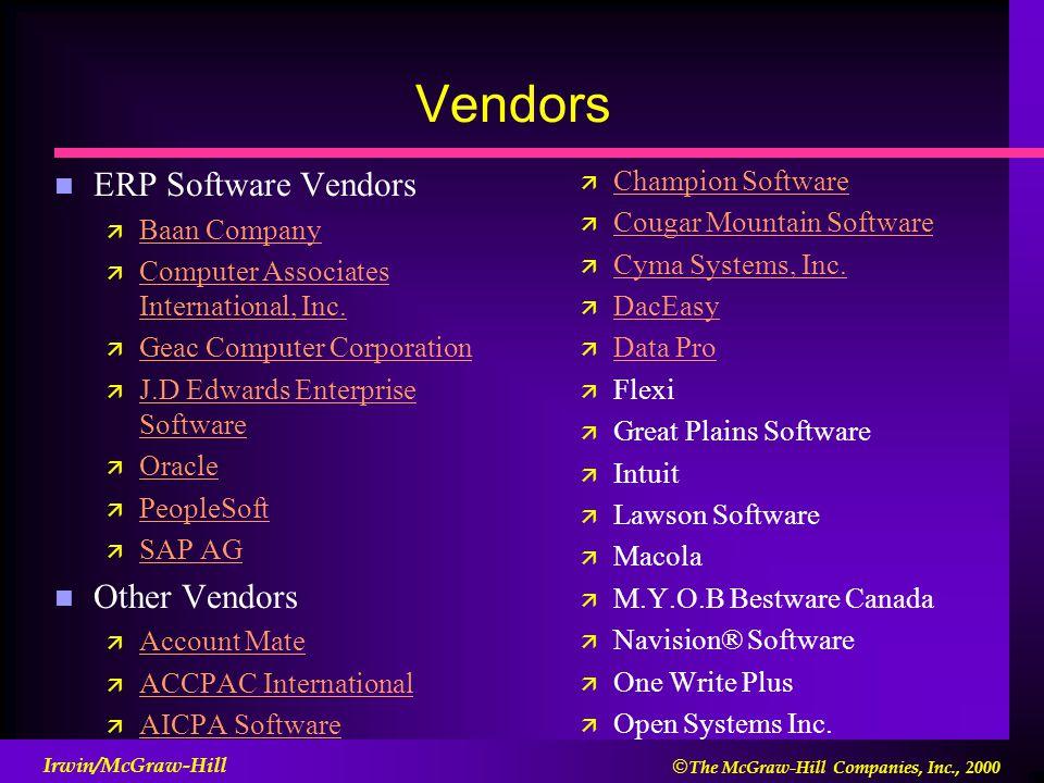  The McGraw-Hill Companies, Inc., 2000 Irwin/McGraw-Hill Vendors n ERP Software Vendors ä Baan Company Baan Company ä Computer Associates International, Inc.