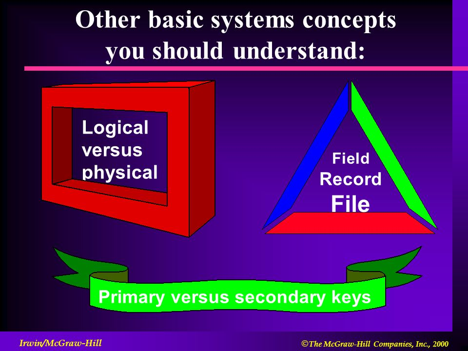  The McGraw-Hill Companies, Inc., 2000 Irwin/McGraw-Hill Other basic systems concepts you should understand: Logical versus physical Primary versus secondary keys Field Record File