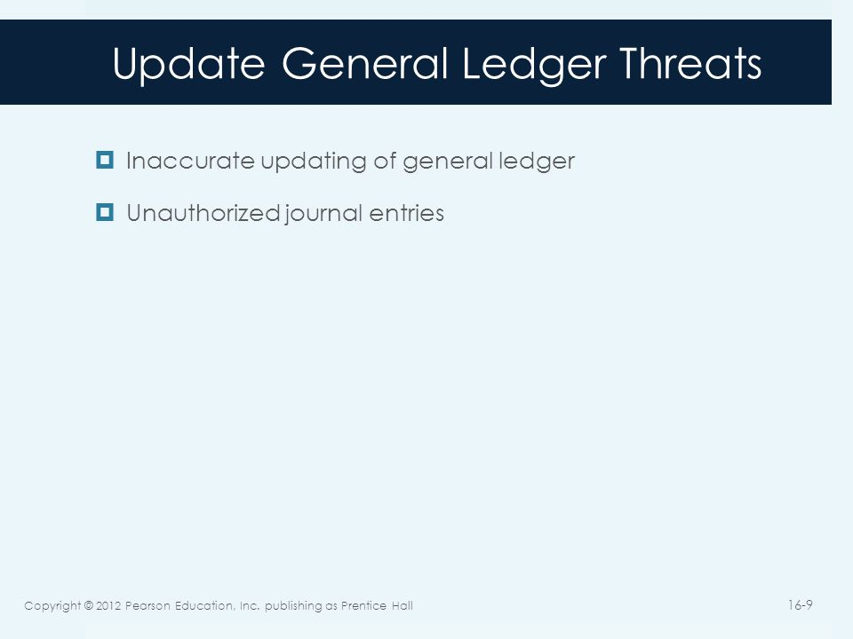 Update General Ledger Threats  Inaccurate updating of general ledger  Unauthorized journal entries Copyright © 2012 Pearson Education, Inc.
