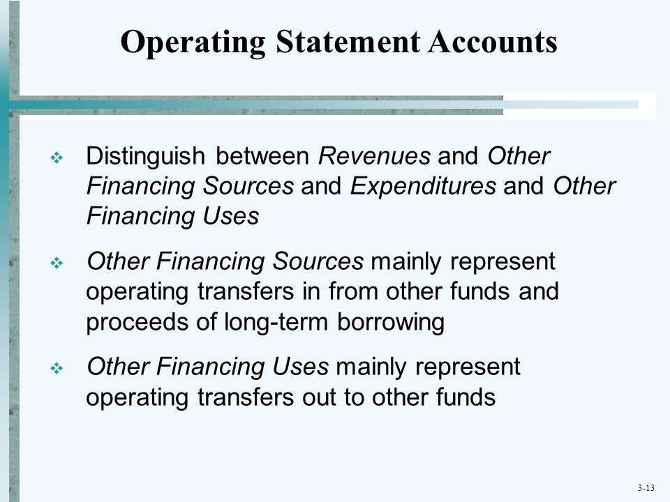 3-13  Distinguish between Revenues and Other Financing Sources and Expenditures and Other Financing Uses  Other Financing Sources mainly represent o