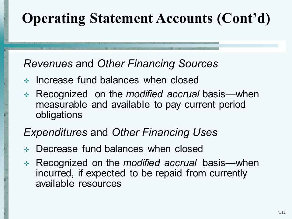 3-14 Revenues and Other Financing Sources  Increase fund balances when closed  Recognized on the modified accrual basis—when measurable and availabl