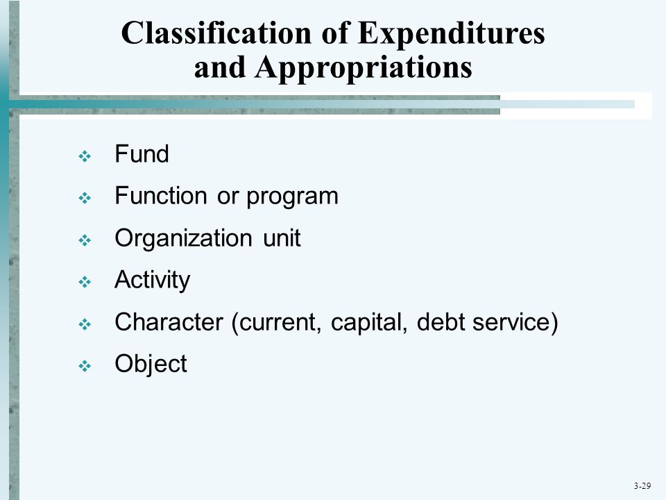 3-29  Fund  Function or program  Organization unit  Activity  Character (current, capital, debt service)  Object Classification of Expenditures