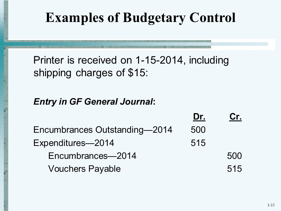 3-35 Printer is received on 1-15-2014, including shipping charges of $15: Entry in GF General Journal: Dr. Cr. Encumbrances Outstanding—2014500 Expend