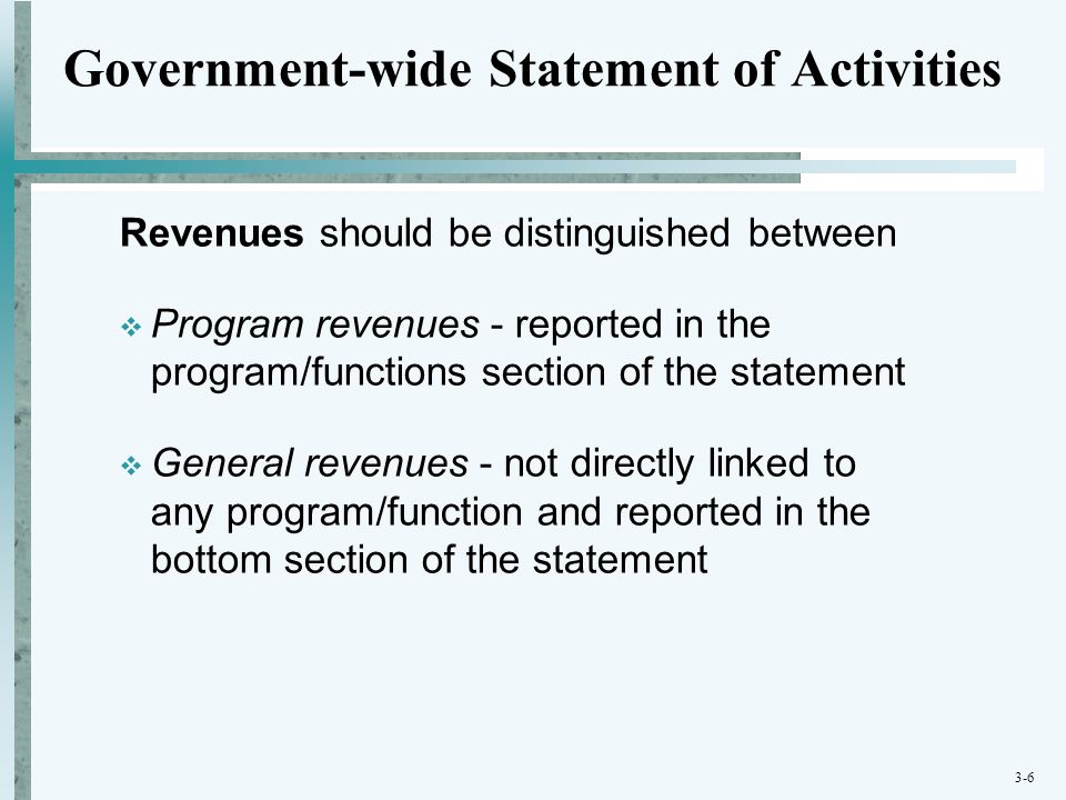 3-6 Government-wide Statement of Activities Revenues should be distinguished between  Program revenues - reported in the program/functions section of