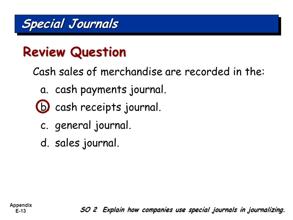 Appendix E-13 Cash sales of merchandise are recorded in the: a.cash payments journal.
