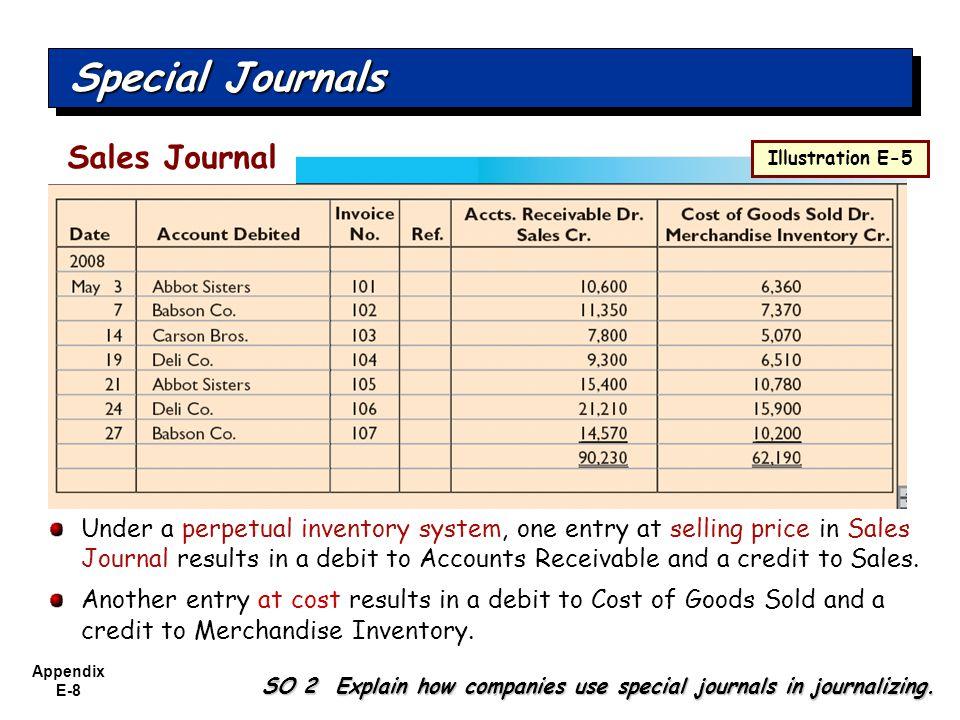 Appendix E-8 Special Journals SO 2 Explain how companies use special journals in journalizing. Sales Journal Illustration E-5 Under a perpetual invent