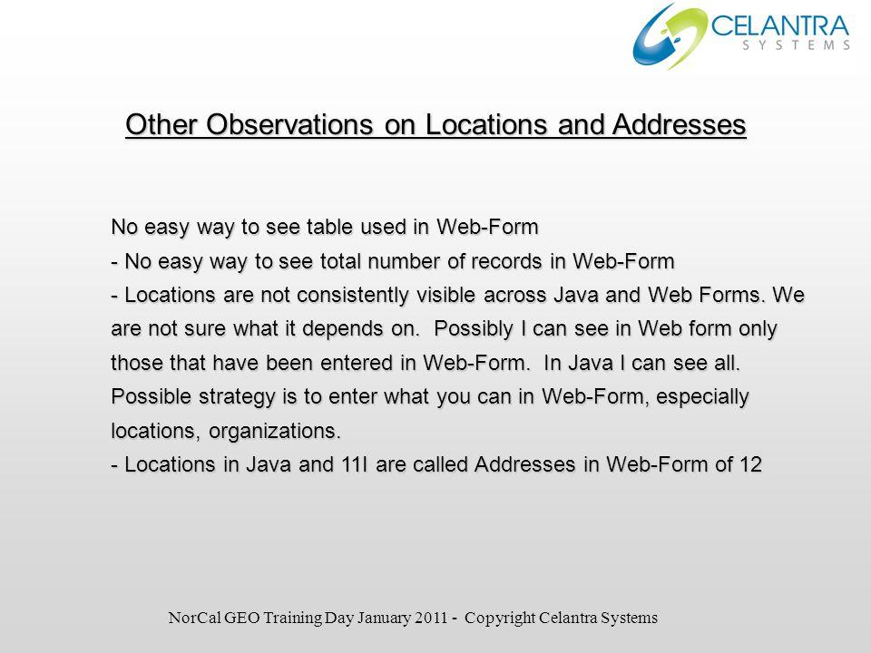 Gotcha 2: Location with Address Validation Business Group Needs Location (HR_Location): Address Validation Data entry through Java form or Web-form.