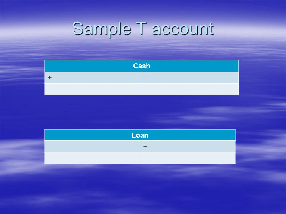 Sample T account Cash +- Loan -+