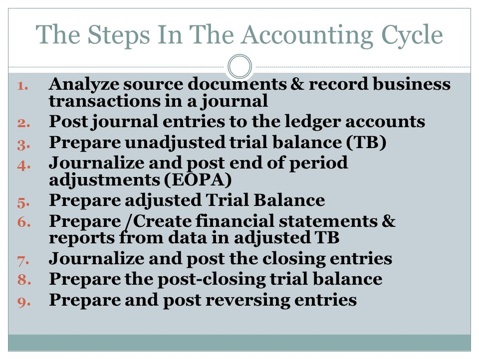 The Accounting Cycle For a new business, it begin by setting up ledger accounts. For an established business, begin with account balances carried over