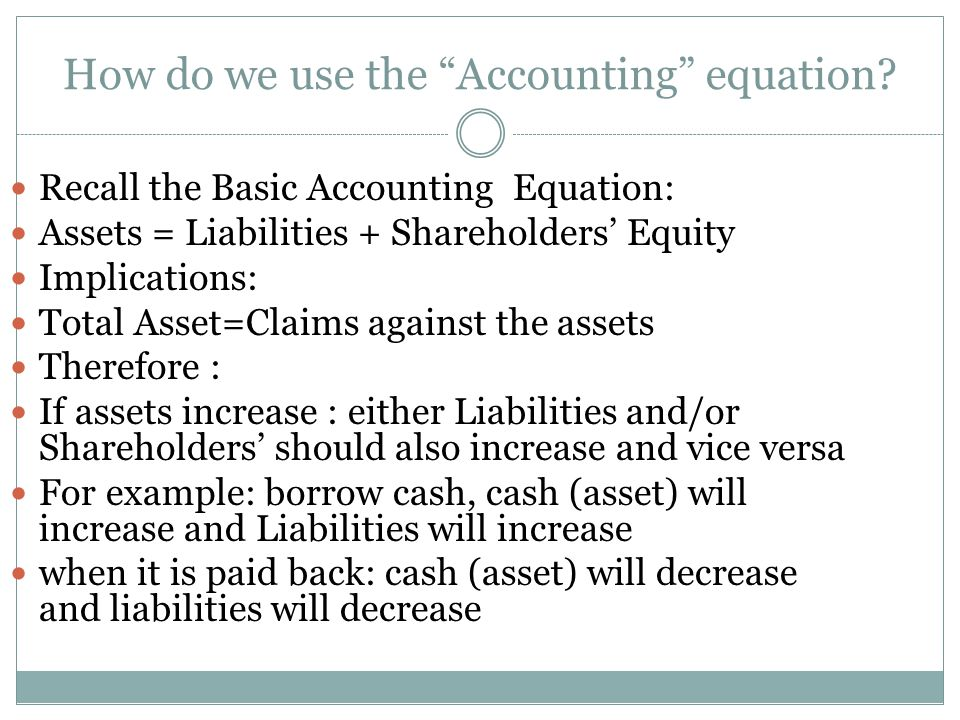 Fundamental Accounting Equation ASSETS = EQUITIES ASSETS = LIABILITIES + OWNERS' EQUITY
