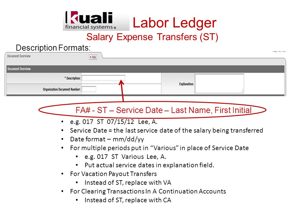 KFS -- Labor Ledger Salary Expense Transfers (ST) Description Formats: e.g.