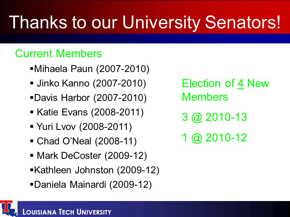 L OUISIANA T ECH U NIVERSITY Current Members  Mihaela Paun (2007-2010)  Jinko Kanno (2007-2010)  Davis Harbor (2007-2010)  Katie Evans (2008-2011)  Yuri Lvov (2008-2011)  Chad O'Neal (2008-11)  Mark DeCoster (2009-12)  Kathleen Johnston (2009-12)  Daniela Mainardi (2009-12) Thanks to our University Senators.