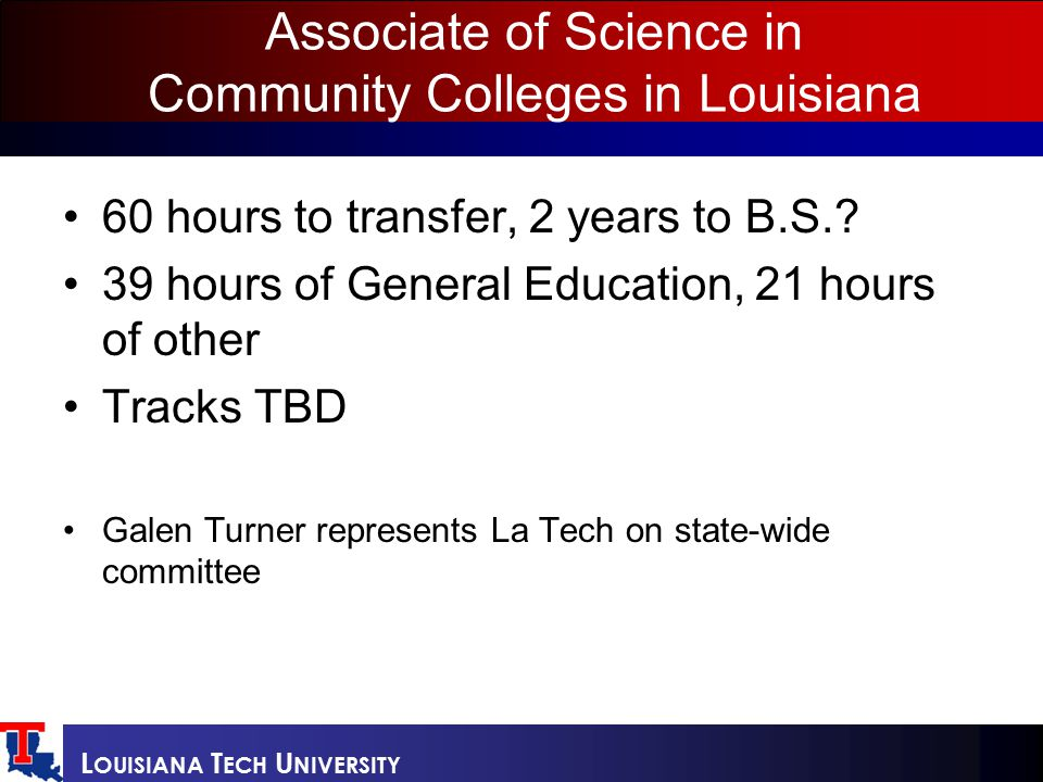 L OUISIANA T ECH U NIVERSITY Associate of Science in Community Colleges in Louisiana 60 hours to transfer, 2 years to B.S..