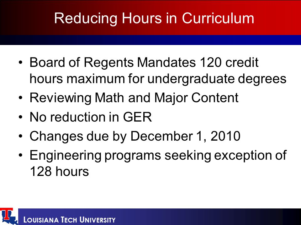 L OUISIANA T ECH U NIVERSITY Reducing Hours in Curriculum Board of Regents Mandates 120 credit hours maximum for undergraduate degrees Reviewing Math and Major Content No reduction in GER Changes due by December 1, 2010 Engineering programs seeking exception of 128 hours