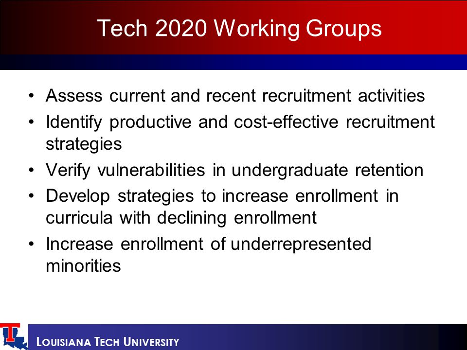 L OUISIANA T ECH U NIVERSITY Tech 2020 Working Groups Assess current and recent recruitment activities Identify productive and cost-effective recruitment strategies Verify vulnerabilities in undergraduate retention Develop strategies to increase enrollment in curricula with declining enrollment Increase enrollment of underrepresented minorities