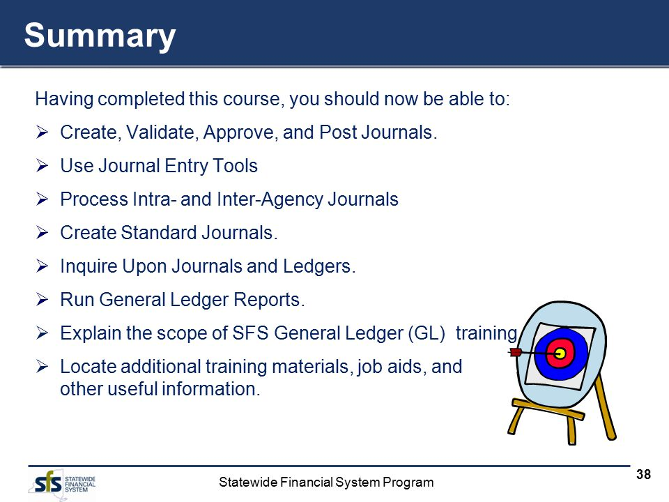Statewide Financial System Program 38 Summary Having completed this course, you should now be able to:  Create, Validate, Approve, and Post Journals.
