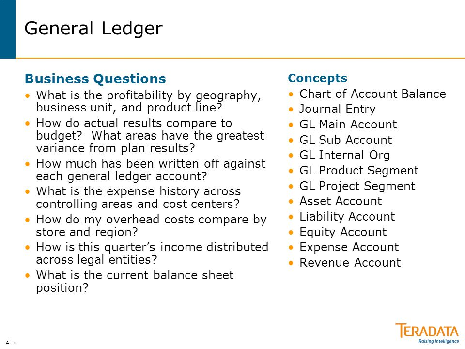 4 > General Ledger Business Questions What is the profitability by geography, business unit, and product line? How do actual results compare to budget