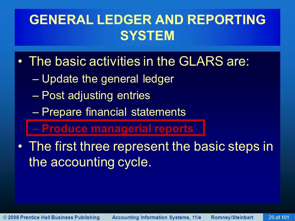 © 2008 Prentice Hall Business Publishing Accounting Information Systems, 11/e Romney/Steinbart25 of 101 GENERAL LEDGER AND REPORTING SYSTEM The basic activities in the GLARS are: –Update the general ledger –Post adjusting entries –Prepare financial statements –Produce managerial reports The first three represent the basic steps in the accounting cycle.