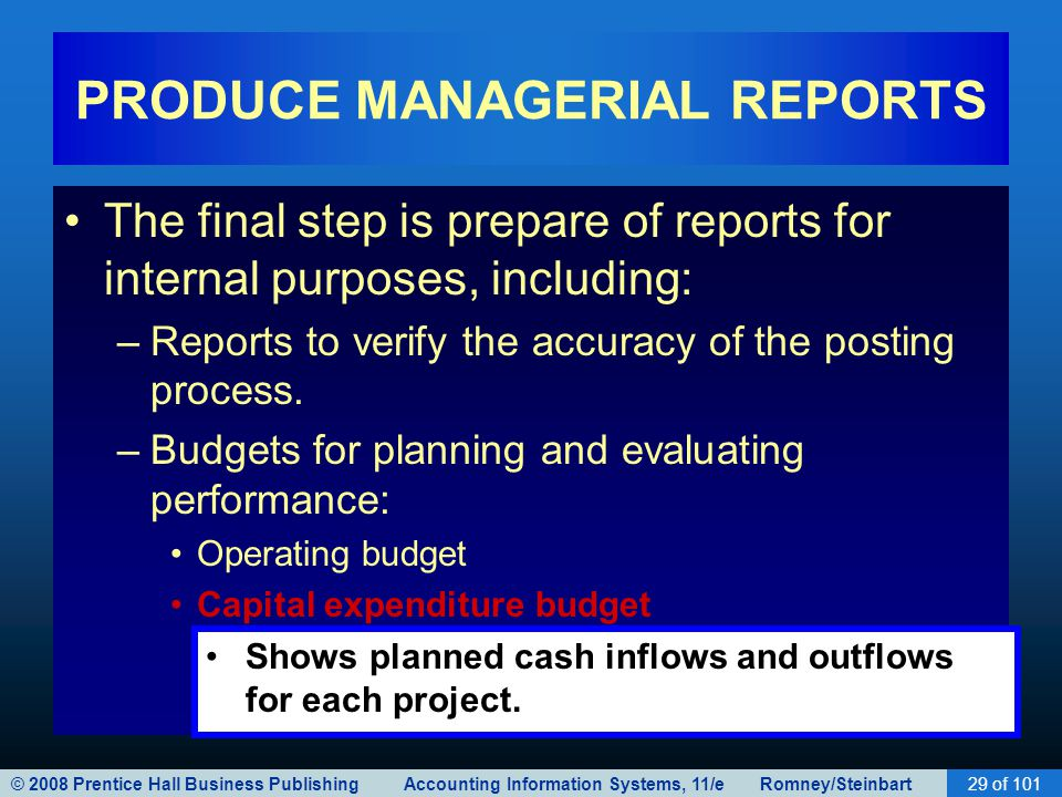 © 2008 Prentice Hall Business Publishing Accounting Information Systems, 11/e Romney/Steinbart29 of 101 PRODUCE MANAGERIAL REPORTS The final step is prepare of reports for internal purposes, including: –Reports to verify the accuracy of the posting process.