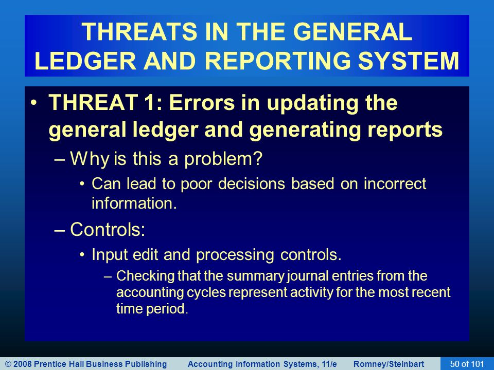 © 2008 Prentice Hall Business Publishing Accounting Information Systems, 11/e Romney/Steinbart50 of 101 THREATS IN THE GENERAL LEDGER AND REPORTING SYSTEM THREAT 1: Errors in updating the general ledger and generating reports –Why is this a problem.