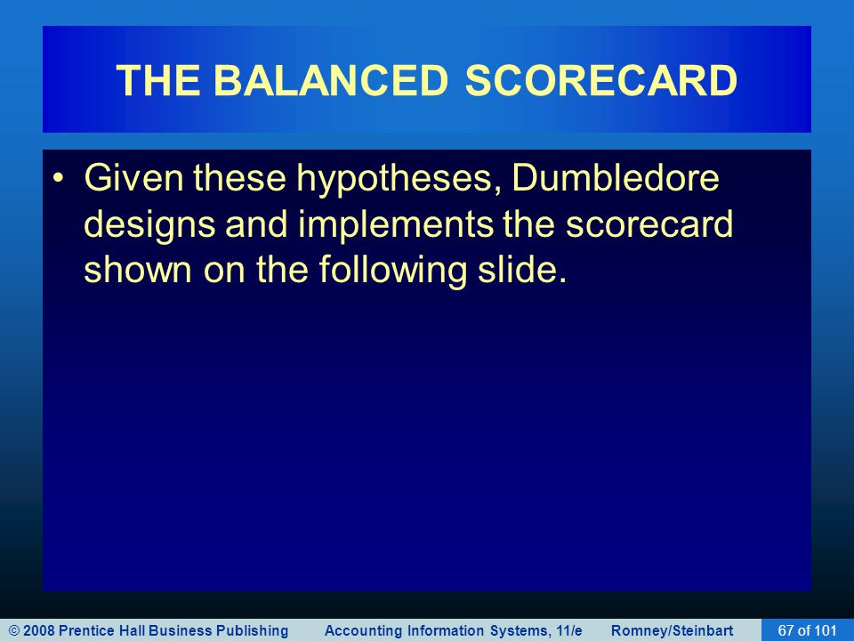 © 2008 Prentice Hall Business Publishing Accounting Information Systems, 11/e Romney/Steinbart67 of 101 THE BALANCED SCORECARD Given these hypotheses, Dumbledore designs and implements the scorecard shown on the following slide.