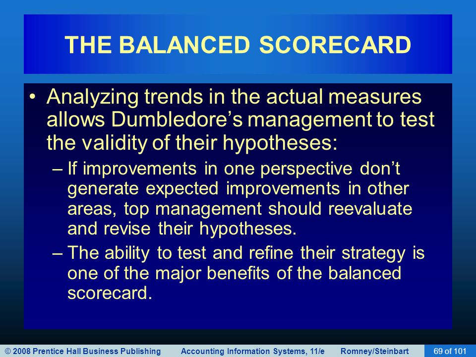 © 2008 Prentice Hall Business Publishing Accounting Information Systems, 11/e Romney/Steinbart69 of 101 THE BALANCED SCORECARD Analyzing trends in the actual measures allows Dumbledore's management to test the validity of their hypotheses: –If improvements in one perspective don't generate expected improvements in other areas, top management should reevaluate and revise their hypotheses.