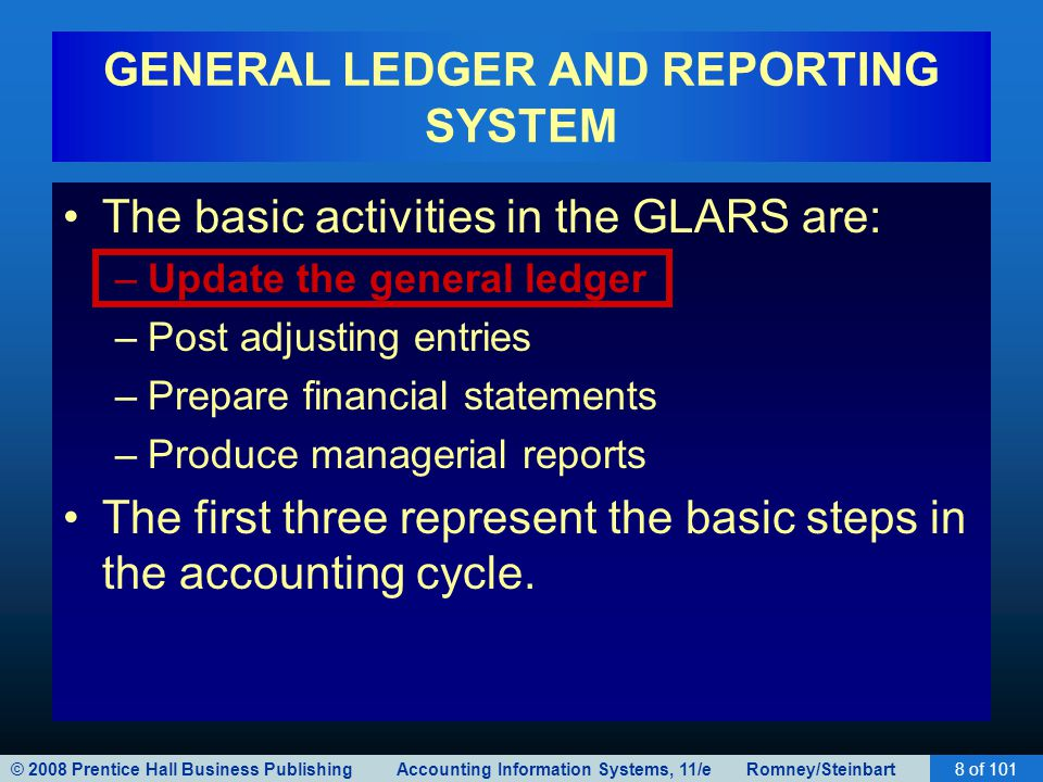 © 2008 Prentice Hall Business Publishing Accounting Information Systems, 11/e Romney/Steinbart8 of 101 GENERAL LEDGER AND REPORTING SYSTEM The basic activities in the GLARS are: –Update the general ledger –Post adjusting entries –Prepare financial statements –Produce managerial reports The first three represent the basic steps in the accounting cycle.