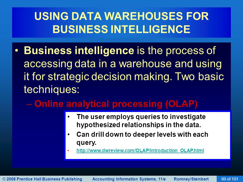 © 2008 Prentice Hall Business Publishing Accounting Information Systems, 11/e Romney/Steinbart80 of 101 USING DATA WAREHOUSES FOR BUSINESS INTELLIGENCE Business intelligence is the process of accessing data in a warehouse and using it for strategic decision making.