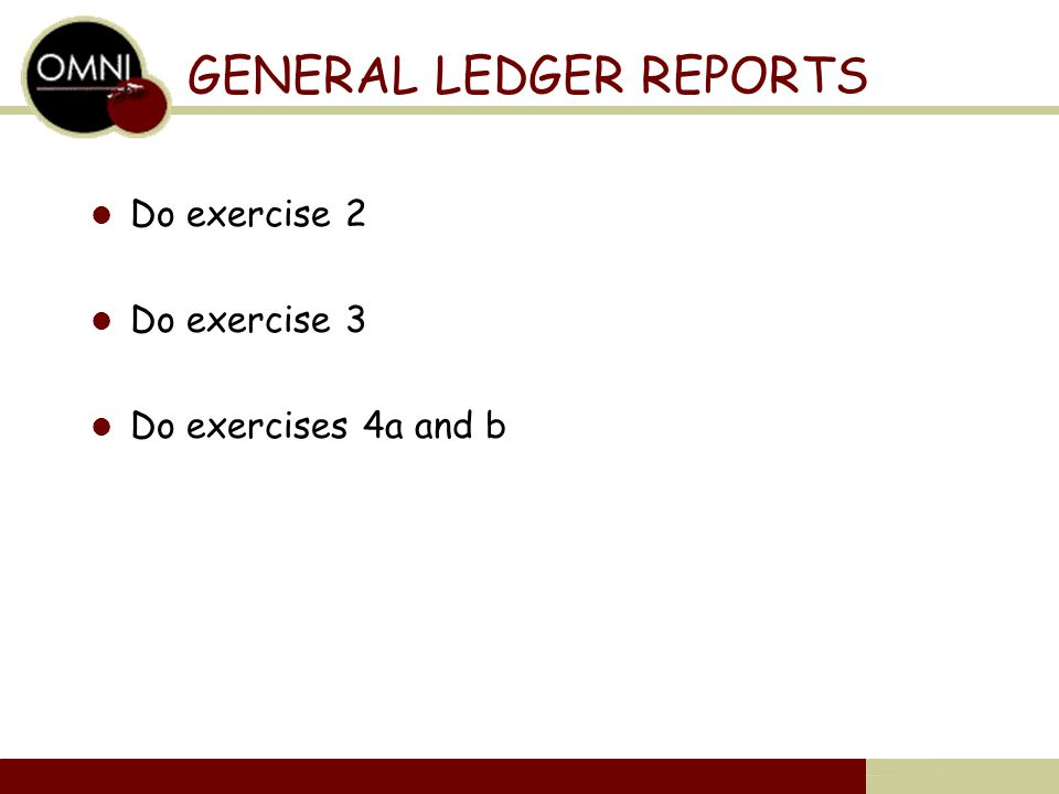 GENERAL LEDGER REPORTS Do exercise 2 Do exercise 3 Do exercises 4a and b