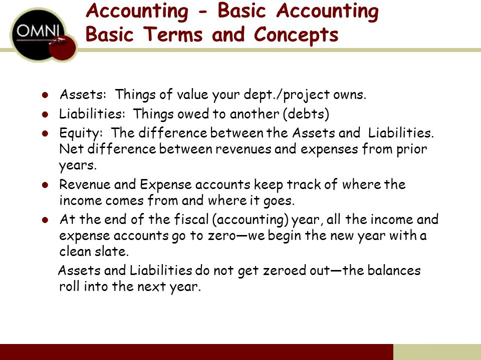 Accounting - Basic Accounting Basic Terms and Concepts Assets: Things of value your dept./project owns.