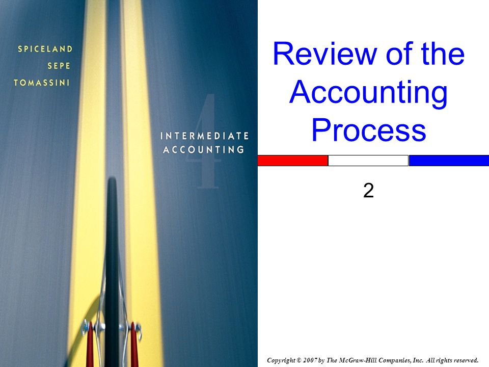 Copyright © 2007 by The McGraw-Hill Companies, Inc. All rights reserved. Review of the Accounting Process 2 Insert Book Cover Picture