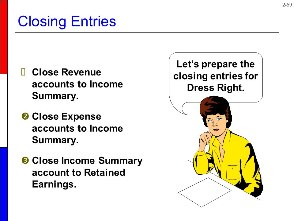 2-59  Close Revenue accounts to Income Summary.  Close Expense accounts to Income Summary.  Close Income Summary account to Retained Earnings. Let'