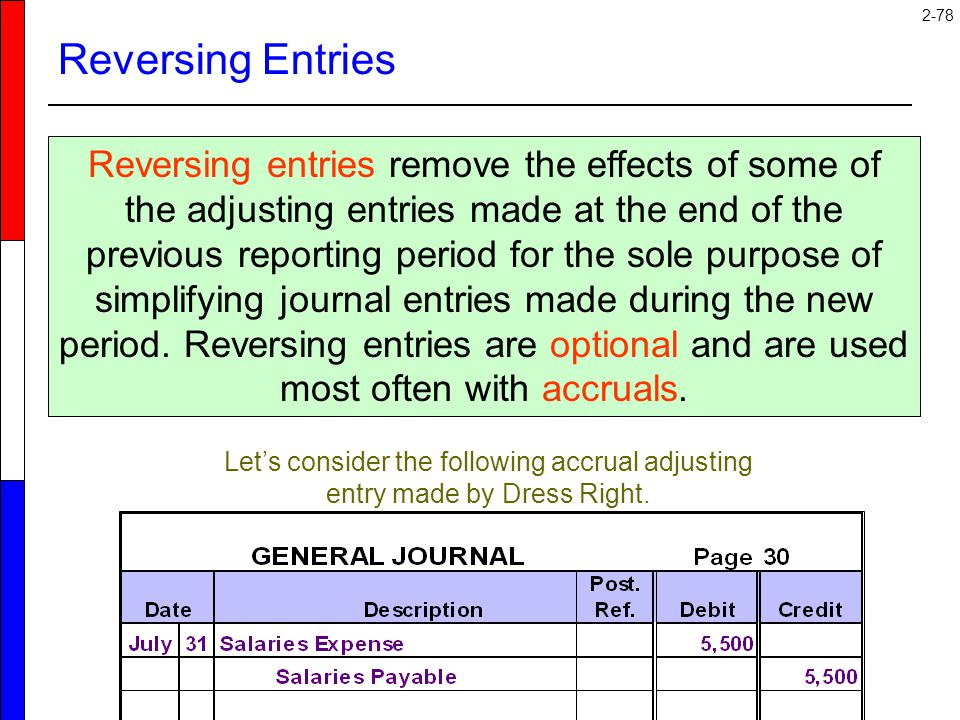 2-78 Reversing Entries Reversing entries remove the effects of some of the adjusting entries made at the end of the previous reporting period for the